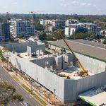 Site view of a precast building